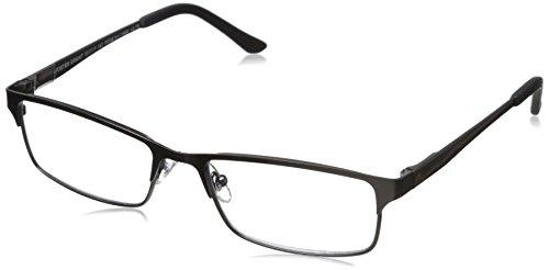 Foster Grant Men's Samson Rectangular Reading Glasses, Satin Dark Gunmetal/Transparent, 52 mm + 1