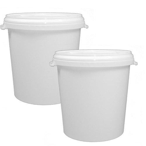 2 x 30 Liter Eimer leer Leereimer weiß Hobbock Futtermischeimer mit Deckel weiss