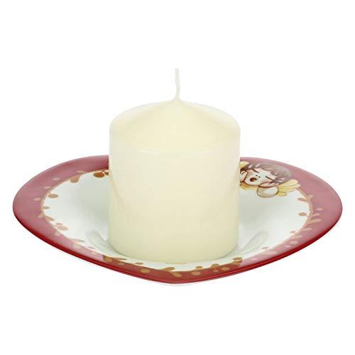 THUN ® - Candela con piattino in Porcellana a Forma di Cuore - 19,5 x 17 cm