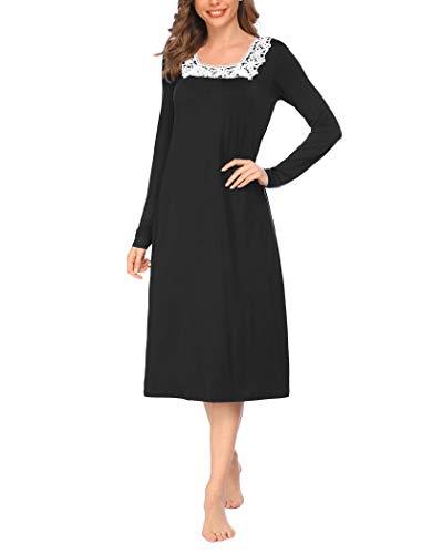 ADOME Damen Nachthemd Sleepwear Langarm A-Linie Casual Nachtkleid Nachtwäsche lang Spitze Ausschnitt Herbst Unterkleid, Schwarz, S