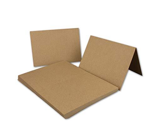 50x Vintage Kraftpapier Falt-Karten DIN A6-105 x 148 mm - Naturbraun - Recycling - 350 g/m² blanko Klapp-Karten - UmWelt by Gustav NEUSER