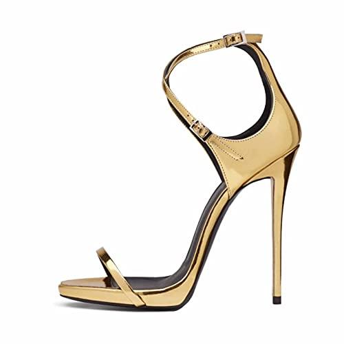 Mujer Sandalias, Zapatos Salón Sandalias Stiletto - Punta Abierta Tacón Alto 12 Cm,Oro,40
