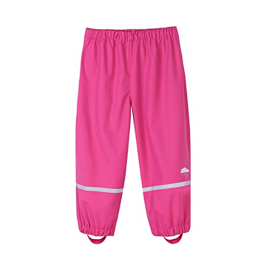 M2C Girls' Cotton Lined Waterproof Rain Pants Lightweight Rainwear 3T Pink
