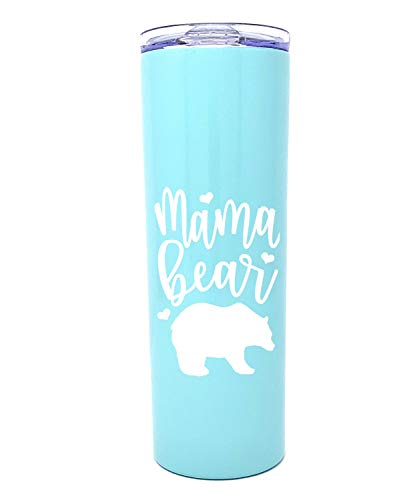 Cute, Fun, Unique Tumblers for Mom- Double Walled Vacuum Sealed Stainless Steel 20 oz Tumbler - Great Gift for Mom, Wife, Mother (Mama Bear Teal)