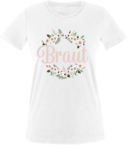 EZYshirt® Junggesellinnenabschied JGA Braut Blumenkranz Pastell Rosa T-Shirt Damen