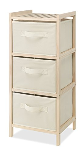 Whitmor 3 Drawer Wood Chest - Compact Design - Pull Out Fabric Bins - Natural Pine