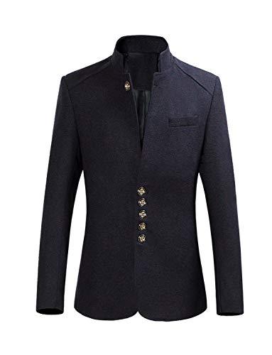 YOUTHUP Melange Fleece Anzugjacke Herren Sakko Slim fit Fleece Winterjacke mit Stehkragen