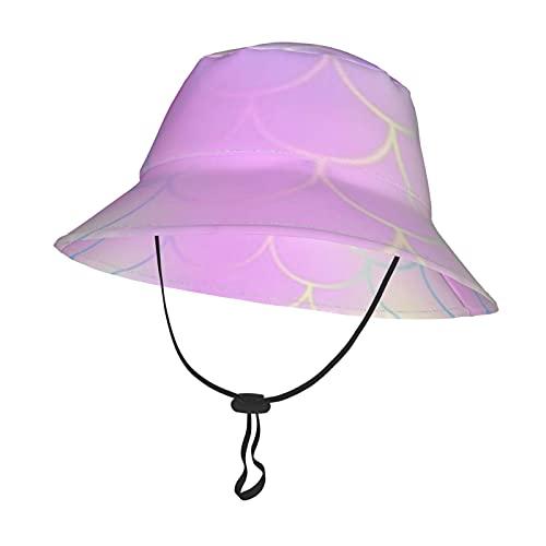 GAHAHA Sombrero de sol para bebé, escamas de sirenas para niños pequeños, con correa ajustable para la barbilla, gorra de playa para todo el año, gorra de pescador de viaje al aire libre
