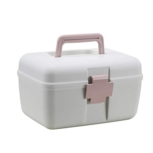 YLLN thuisapotheek doos, 2 niveaus medicijnkastje XXL draagbare medicijndoos huisapotheek EHBO-doos huisapotheek opslag roze