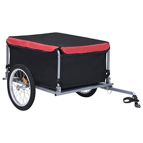 vidaXL Fahrrad Lastenanhänger Klappbare Deichsel Fahrradanhänger Transportanhänger Anhänger Handwagen Radanhänger Schwarz Rot 65kg