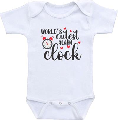 World's cutest alarm clock baby onesie newborn bodysuit infant clothes romper cotton unisex baby outfit (6 months)