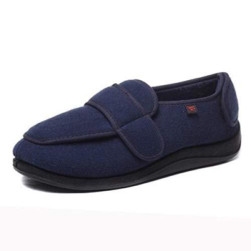 Diabetische wandelschoenen voor heren Ademende sneakers, verstelbare klittenband thermische schoenen voor hoge wreef-UK10.5_Navy blauw, diabetische pantoffel
