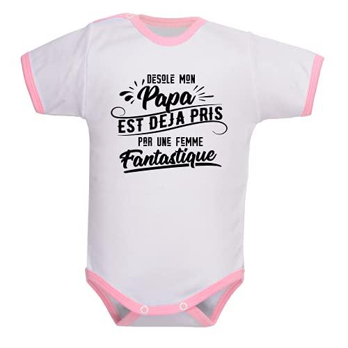 bebe-abord.com Body manches courtes. Bodies enfant. Fille et garçon. Message marrant. Humour. Papa et maman. Cadeau de naissance - blanc/rose, 6-12 mois