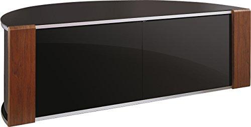 MDA Designs Sirius 1200 Remote Friendly Beam Thru Glass Door Walnut / Oak High Gloss Piano Black with Brushed Aluminium Trim 40