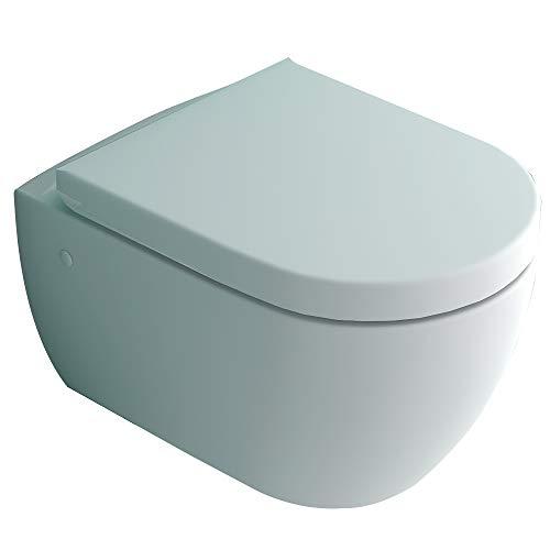 Hänge-Dusch-WC integrierter Bidet-Taharet Funktion mit verstellbarer Edelstahlkopfdüse + Abnehmbarer D-Form WC-Sitz inkl. Soft-Close-Funktion | Ästetisches Design | 2 in 1 Bidet und WC
