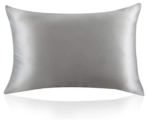 ZIMASILK Kissenbezug aus 100% Seide für Haare und Haut. Doppelseitige 19 Momme Reine Maulbeerseide Kissenhülle mit Reißverschluss, 1 Stück.(40x80 cm, Silber-Grau)