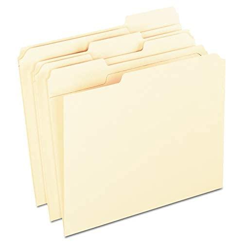 Pestaña reforzada Archivadores de archivos, tamaño carta, Manila, 1/3-corte, 100 por caja - 1