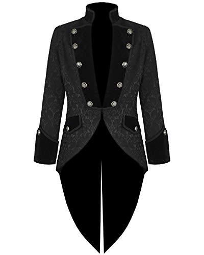 Darkrock Mens Steampunk Tailcoat Jacket Velvet Gothic VTG Victorian/Tail Coat (XXX-Large, Brocade)