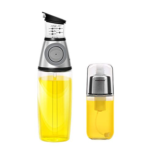 AMINNO Oil Sprayer and Oil Dispenser Press Measure - Pump Style Mister for Cooking Glass Oil Spray Bottle set of 2, Save Oil Healthy,Drip Free Oil Pourer