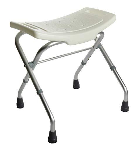 OrtoPrime Opvouwbare badkruk, voor grotere personen, draagbaar voor douche of badkuip, in hoogte verstelbaar, orthopedische stoel voor gehandicapten, antislip zitbank
