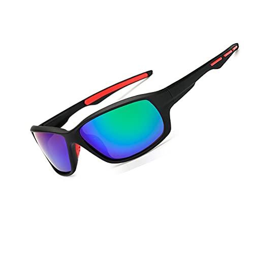 Long Keeper Occhiali da Sole Polarizzati Sportivi da Uomo Donna Occhiali Ciclismo Protezione UV400 Ultraleggeri per Moto Guida Sport all'Aria Aperta (Nero e Verde)