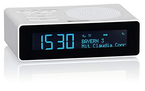 Roadstar CLR-290D+ DAB+ Radiowecker mit LCD-Display, Zwei Weckzeiten, digitaler Radio-Tuner, USB-Anschluss, Kopfhörer-Anschluss, 40 Senderspeicher, weiß