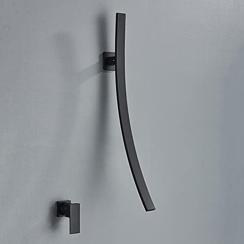 Grifo de lavabo grifo de una manija de dos orificios de salida larga de montaje en pared grifo de agua fría y caliente para utensilios fregadero negro mate