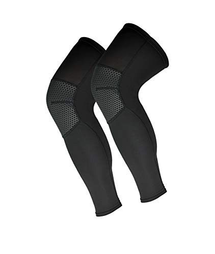 HaloYIYI Compression Full Leg Sleeves 2 Pack Unisex Thin Breathable Non-Slip Knee Brace (Black,...