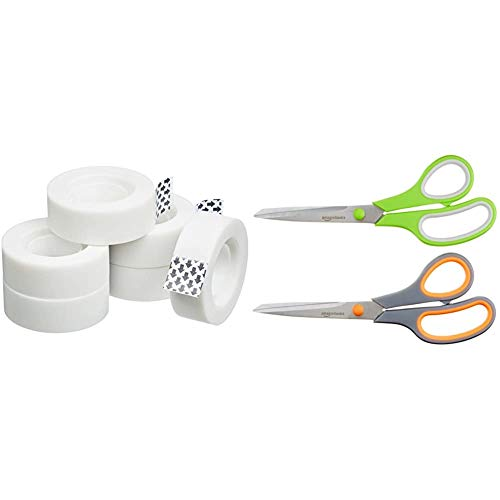 AmazonBasics – Cinta adhesiva de oficina, 6 rollos + Tijeras con mango suave y cuchilla de titanio (20 cm, pack de 2)