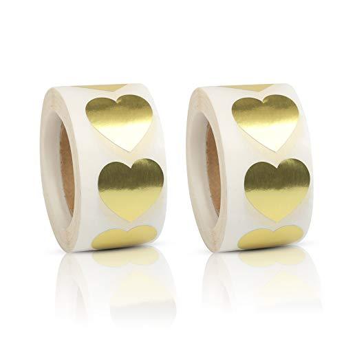 Matogle 1000pcs Gold Heart Stickers Etiquetas autoadhesivas de papel en forma de corazón Heart Sticky Labels para manualidades Bolsas de regalo Tarjetas envolventes Cajas de regalo Banquete de boda