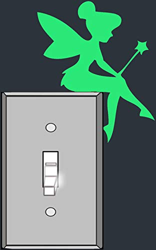 Pqzqmq Light Switch Vinyl Decal Sticker - Tinkerbell Fairy Glow in The Dark - for Light Switch, Wall, Laptop, Car, Home Decor (7.95'' x 5.87'', Set of 2)