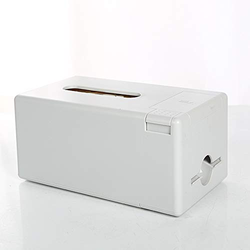Portapañuelos de papel Caja de dispensadores de tejido que puede contener toalla de papel y palillos de dientes al mismo tiempo Caja de tejido facial de papel blanco rectangular Dispensador de Pañuelo