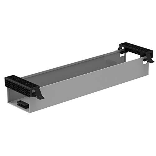 boho office® - Kabelwanne - beidseitig klappbare Kabelwanne in Silber (RAL9006) zur Installation unterhalb der Tischplatte 57 cm