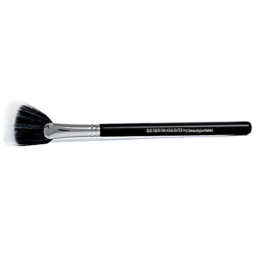 Fan Highlighter Makeup Brush – Beauty Junkees Duo Fiber Face Make Up Brushes, Cheekbone Define Highlighting with Powder, Cream, Mineral, Liquid Cosmetics, Soft, Synthetic, Vegan, Cruelty Free