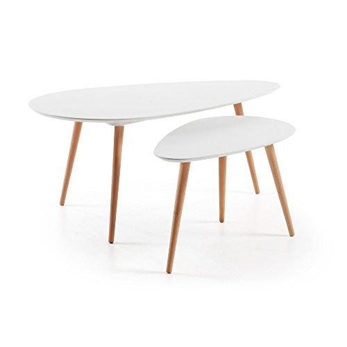 Kave Home - Lot en 2 Tables d'appoint Kirb Blanc Oval 116 x 45/75 x 40 cm avec Pieds en Bois Massif de chêne