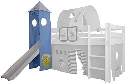 XXL Discount Turm-Vorhang 100% Baumwolle für Hochbett Spielbett Stockbett Kinderbett Kinderzimmer Spielturm mit Turmgestell (Blau/Weiß, Weltraum)