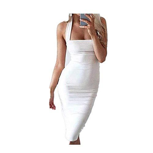 N\P Vestido de vendaje halter sin tirantes vestidos de fiesta sin mangas hasta la rodilla vestido de verano de las mujeres