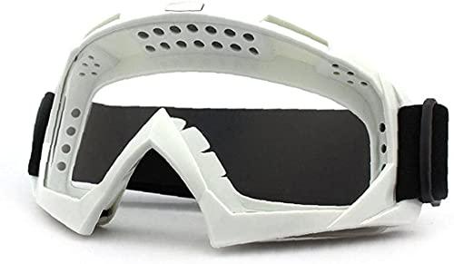 ZLYJ Gafas De Motocicleta Motocross Cubierta De Polvo De Viento Gafas De Aviador Gafas De Snowboard Gafas De Nieve Gafas De Esquí Gafas De Deportes De Invierno White