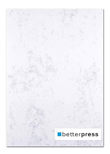 Betterpress® 50 Blatt Marmorpapier grau 120g, A4 – Beidseitig Marmoriertes Papier in hochwertiger Qualität – Premium Briefpapier ideal als Speisekarte, Zertifikat und Urkunde