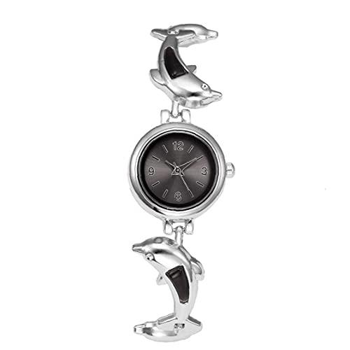 iuNWjvDU Las Mujeres Miran el Reloj de Cuarzo analógico con el Brazalete de aleación Pulsera de Pulsera de Pulsera de Plateado Negro (batería incluida), Regalos para Amigos y colegas