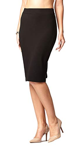 Premium Stretch Pencil Skirt for Women with Slit - Pull On Elastic Waistband - Bodycon Midi Skirts - Classic Black - Medium
