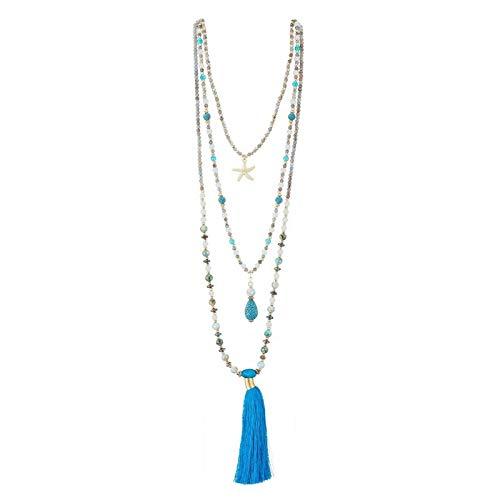 Belle Miss – Collar Largo multirang, con Piedra de fantasía, para Mujer, Elegante y Moderno, con Colgante de Estrella de mar y pompón Azul, Joya de diseño cumpleaños