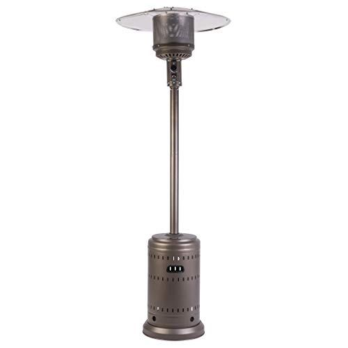 Fire Sense Kaffee Brown Commercial Patio Heater with Wheels | Powder Coated Steel Construction | Uses 20 Pound Propane Tank | 46,000 BTU Output | Portable Outdoor Heat Lamp