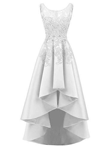 JAEDEN Abendkleider Ballkleider Damen Hochzeitskleider Spitze Partykleider Brautkleider Vorne Kurz Hinten Lang Satin Weiß EUR36