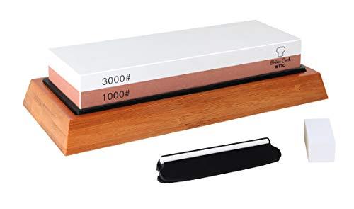 Sharpening Stone Set (1000/3000) 2-Sided Grit Sharpening Whetstone with Bamboo Base
