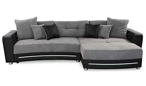 lifestyle4living Ecksofa in Schwarz (Kunstleder) und Grau (Microfaser) inkl. Multimediapaket | Sofa hat 6 Kissen | Funktionssofa mit LED-Beleuchtung
