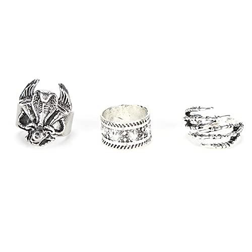 3 stuks sieraden punk ringen, 3 stuks punk ringen Vintage ring set lage allergie kan verfijnd worden met punch stijl om te dragen voor een date Halloween