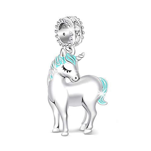 """GNOCE Einhorn Perlen Charm Anhänger 925 Sterling Silber""""Göttliche Seele und Geist"""" Bead Charms mit Zirkonia Charm Schmuck für Armbänder Halsketten Geschenke Bijouterie für Damen"""