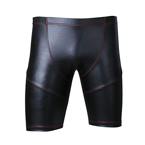 Sexy leren vinyl broek Pole Dance Bodybuilding Gym Sport strakke shorts Gay Fetish Clubwear Dancewear lederen skinny broek heren, XXL