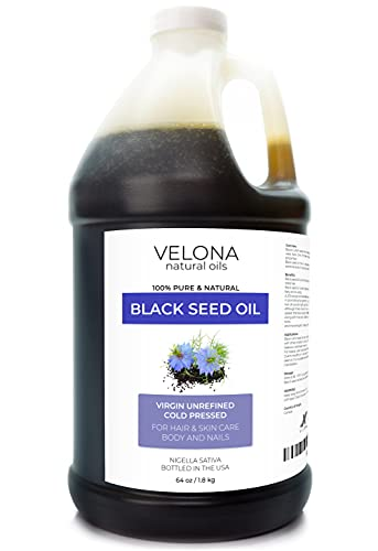 Black Cumin Seed Oil by Velona - 64 oz | 100% Pure and Natural Carrier Oil | Unrefined, Cold Pressed | Hair, Body and Skin Care | Use Today - Enjoy Results